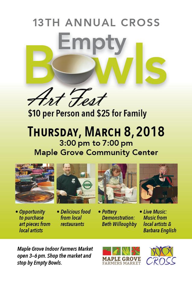 2018 CROSS Empty Bowls 3pm - 7pm